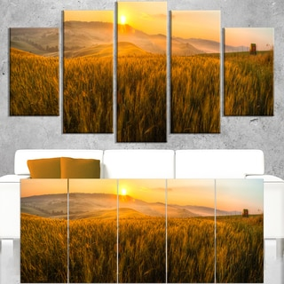 Tuscany Wheat Field At Sunrise Landscape Artwork Print On Canvas Gold On Sale Overstock 12302645