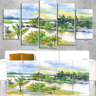 Autumn Forest and Lake Watercolor - Landscape Wall Art Canvas Print
