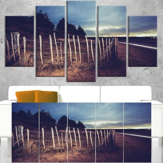 Old Fence on Beach at Sunset - Landscape Art Canvas Print