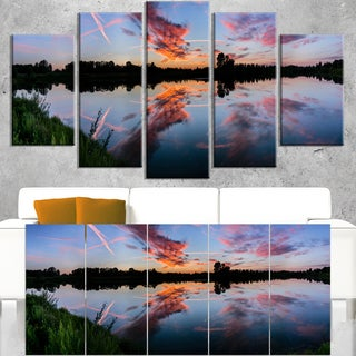 Sunset Sky Mirrored in Lake Water - Landscape Art Canvas Print
