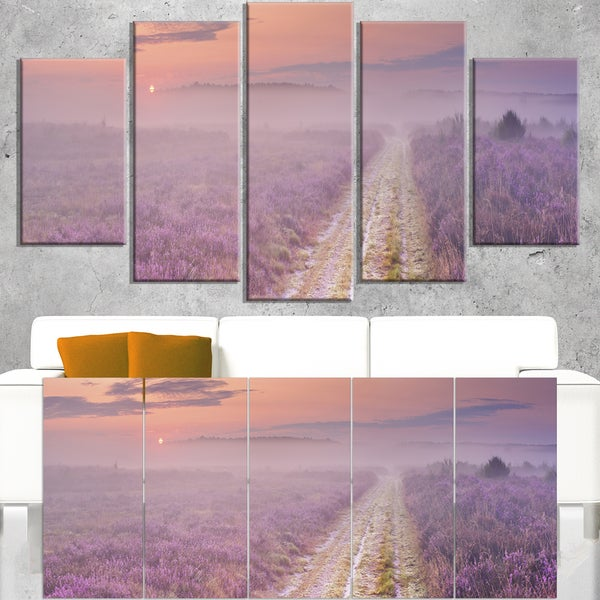 Path through Blooming Heather - Landscape Art Canvas Print - Purple