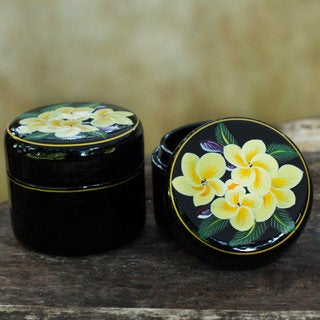 Handmade Set of 2 Lacquered Wood 'Frangipani' Boxes (Thailand)