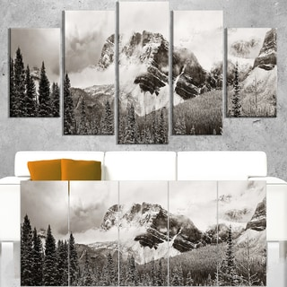 Snow Capped Hills and Bow Lake - Landscape Art Canvas Print