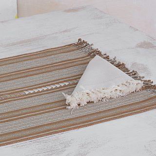 Set of 4 Handcrafted Cotton 'Coffee Time' Placemats and Napkins (Guatemala)
