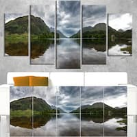 Highland Mirrored in Calm Waters - Landscape Art Canvas Print - Green