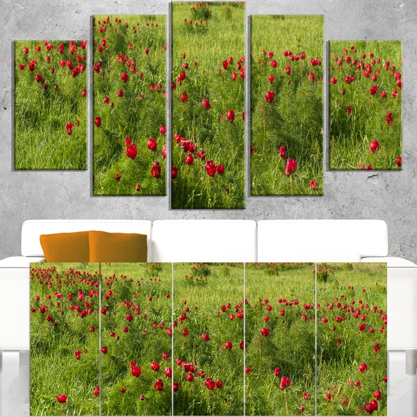 Wild Peonies Flower in Steppe - Modern Landscape Wall Art Canvas - Blue