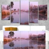 Misty Autumn Sunrise Over River - Landscape Print Wall Artwork - YELLOW