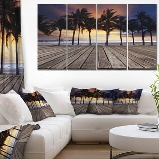 Old Wood Terrace on Sea Beach - Modern Landscape Wall Art Canvas