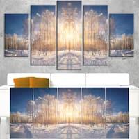 Horizontally Flipped Winter Land - Landscape Wall Art Canvas Print - Blue