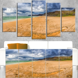 Brown Beach by Arctic Sea Panorama - Landscape Art Canvas Print