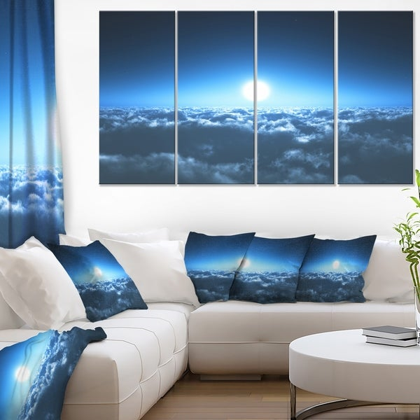 Night Flight above Clouds - Extra Large Wall Art Landscape - Blue