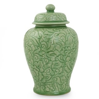Handmade Celadon Ceramic 'Botanical Dream' Jar (Thailand)