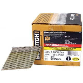 Bostitch Stanley S12DGAL-FH 3.25-inch 28-degree Wire Collated Stick Framing Nails (Pack of 2000)