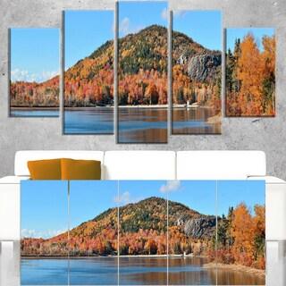 Lake and Beautiful Autumn Foliage - Landscape Artwork Canvas