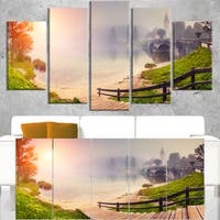 Majestic Foggy Morning in Lake - Landscape Wall Art Canvas Print - Multi-color