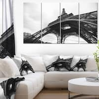 Paris Eiffel Tower in Black and White Side View Cityscape Canvas print