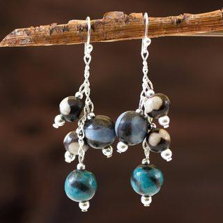 Handcrafted Ceramic Sterling Silver 'Azacualpa Water' Earrings (Honduras)