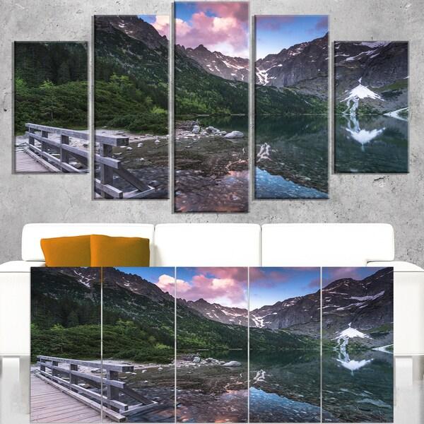 Wooden Foot Bridge Over Lake - Landscape Art Print Canvas