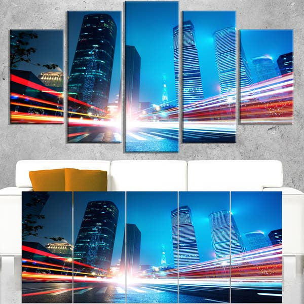 Shanghai Lujiazui Finance At Night Cityscape Canvas Print Blue On Sale Overstock 12303127