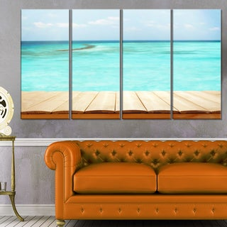 Wooden Planks on Sea Background - Seashore Canvas Wall Artwork
