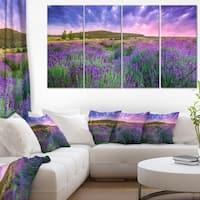 Summer Lavender Field in Tihany - Modern Landscape Wall Art Canvas - Blue