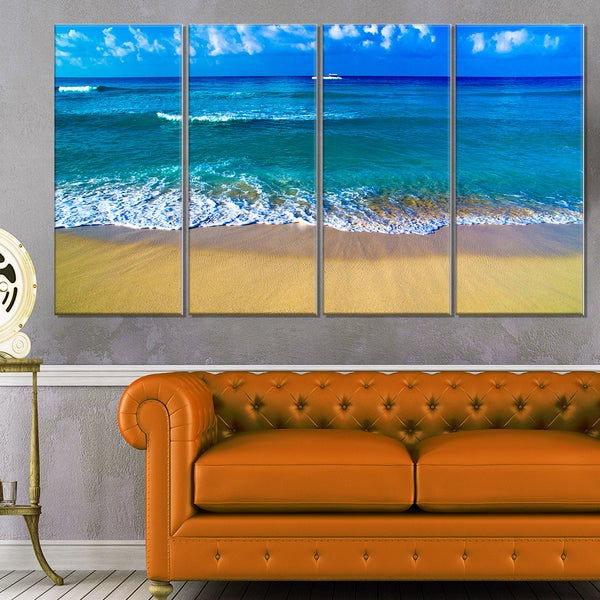 Floating Blue Waves Beach - Large Seashore Canvas Print