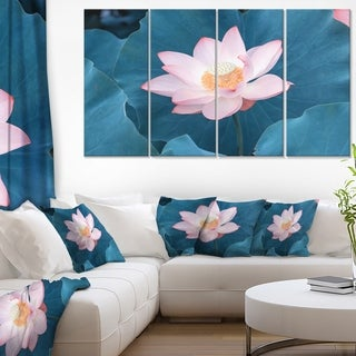 Blooming Pink Lotus Flower - Oversized Beach Canvas Artwork