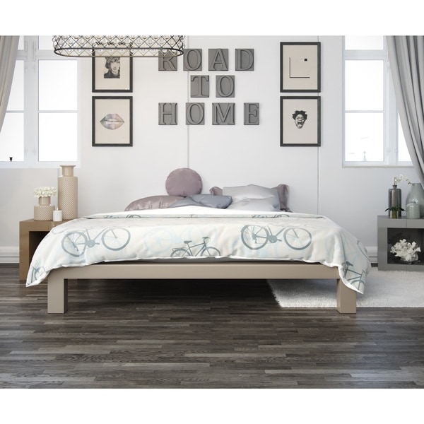 king size metal platform bed frame with wood slats 14 base queen champagne in store