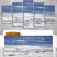 Flight over Bright Clouds - Contemporary Landscape Canvas Art - Blue
