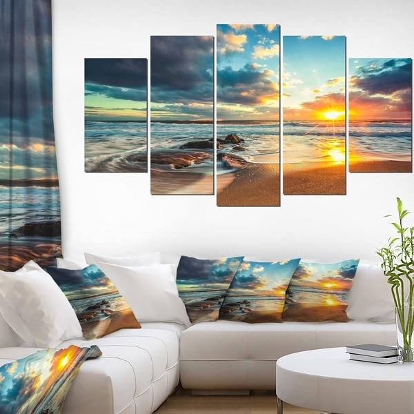 Beautiful Cloudscape Over The Sea Modern Beach Canvas Art Print