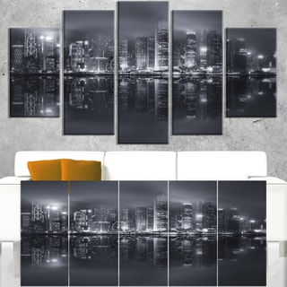 Hong Kong Black and White Skyline - Cityscape Artwork Canvas