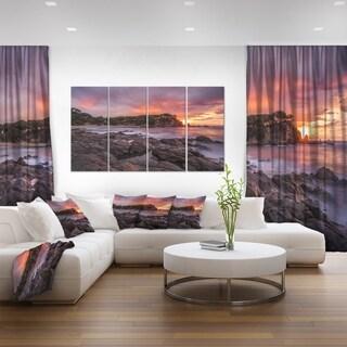 Gloomy Seashore with Large Rocks - Seashore Canvas Wall Art