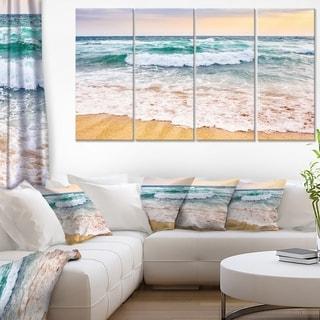 Foaming Waves Splashing the Sand - Seashore Canvas Wall Art