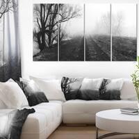 Misty Landscape Panorama - Landscape Wall Art Canvas Print - Black
