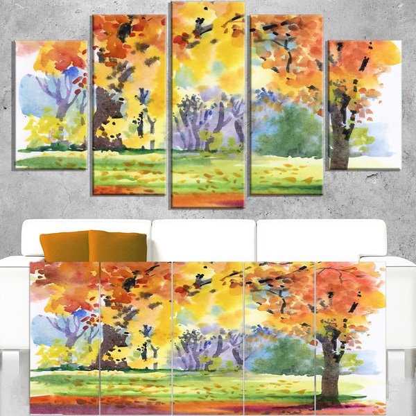 Autumn Park Yellow Trees Watercolor - Landscape Wall Art Canvas Print