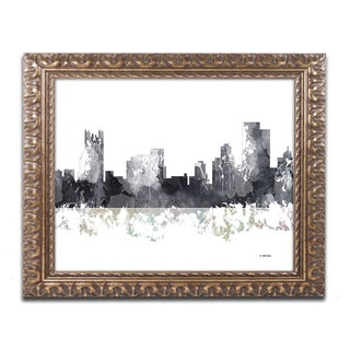 Marlene Watson 'Pittsburgh PA Skyline BG-1' Ornate Framed Art