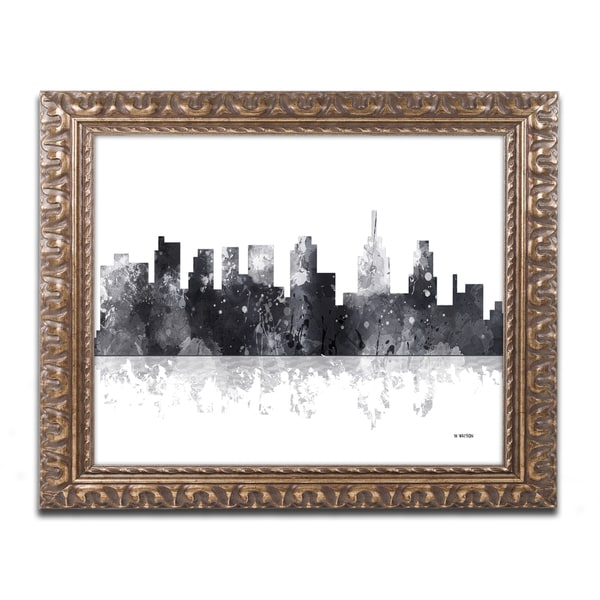 Marlene Watson 'Philadelphia Skyline BG-1' Ornate Framed Art