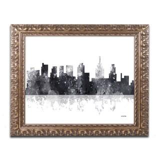 Marlene Watson 'Philadelphia Skyline BG-1' Ornate Framed Art