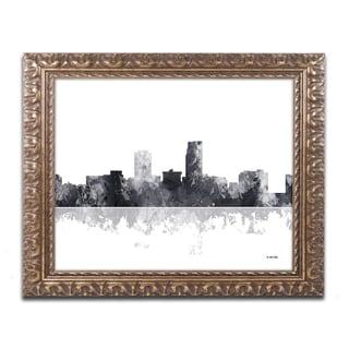Marlene Watson 'Omaha Nebraska Skyline BG-1' Ornate Framed Art