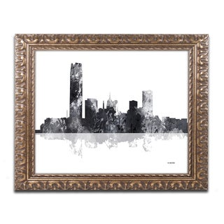 Marlene Watson 'Oklahoma City Oklahoma Skyline BG-1' Ornate Framed Art