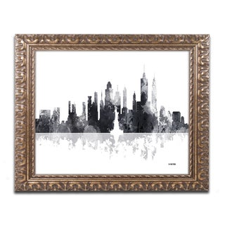 Marlene Watson 'New York New York Skyline BG-1' Ornate Framed Art