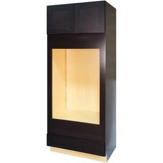 Everyday Cabinets Dark Espresso Shaker 33-inch Double Oven Kitchen Cabinet