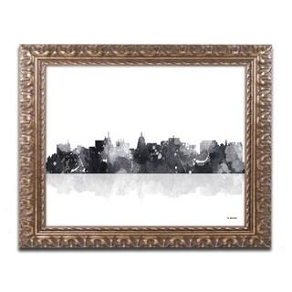 Marlene Watson 'Madison Wisconsin Skyline BG-1' Ornate Framed Art