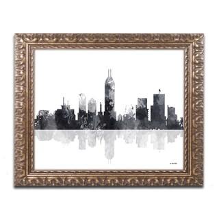 Marlene Watson 'Indianapolis Indiana Skyline BG-1' Ornate Framed Art