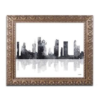 Marlene Watson 'Houston Texas Skyline BG-1' Ornate Framed Art