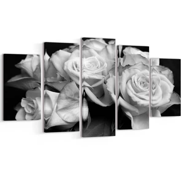 "BLACK AND WHITE ROSE FLORAL CANVAS ART PRINT 40/""x 20/"""