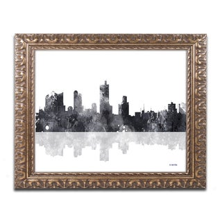 Marlene Watson 'Fort Worth Texas Skyline BG-1' Ornate Framed Art