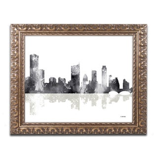 Marlene Watson 'Austin Texas Skyline BG-1' Ornate Framed Art