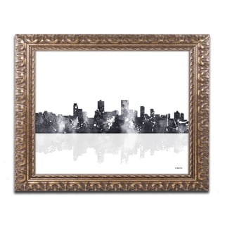 Marlene Watson 'Anchorage Alaska Skyline BG-1' Ornate Framed Art