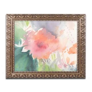 Sheila Golden 'Coral Blossom' Ornate Framed Art